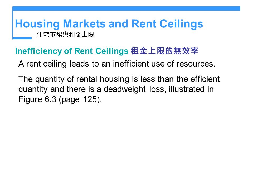 Housing Markets and Rent Ceilings Inefficiency of Rent Ceilings A rent ceiling leads to an inefficient use of resources. The quantity of rental housin