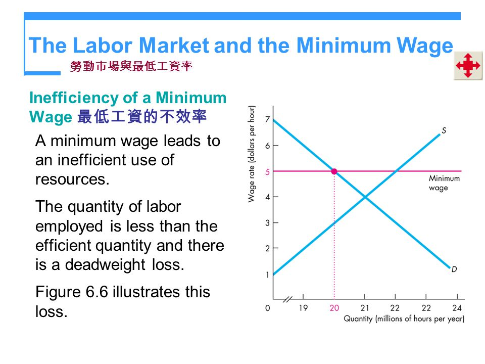 The Labor Market and the Minimum Wage Inefficiency of a Minimum Wage A minimum wage leads to an inefficient use of resources. The quantity of labor em