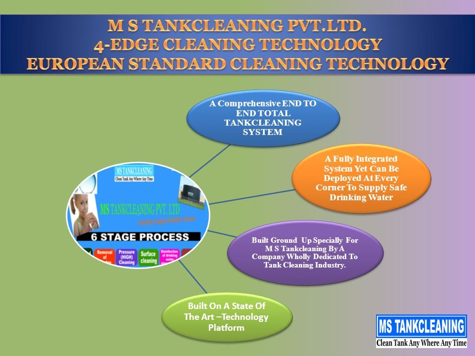 A Comprehensive END TO END TOTAL TANKCLEANING SYSTEM A Fully Integrated System Yet Can Be Deployed At Every Corner To Supply Safe Drinking Water Built Ground Up Specially For M S Tankcleaning By A Company Wholly Dedicated To Tank Cleaning Industry.