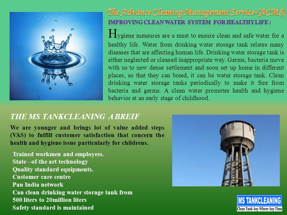 Konzept Technology: MS Tankcleaning Stage : I MECHANIZED DEWATERING: This first stage consists of emptying water from the tank.