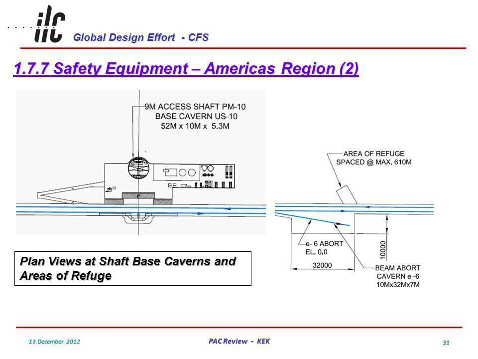 Global Design Effort - CFS 13 December 2012 PAC Review - KEK 31 1.7.7 Safety Equipment – Americas Region (2) Plan Views at Shaft Base Caverns and Areas of Refuge