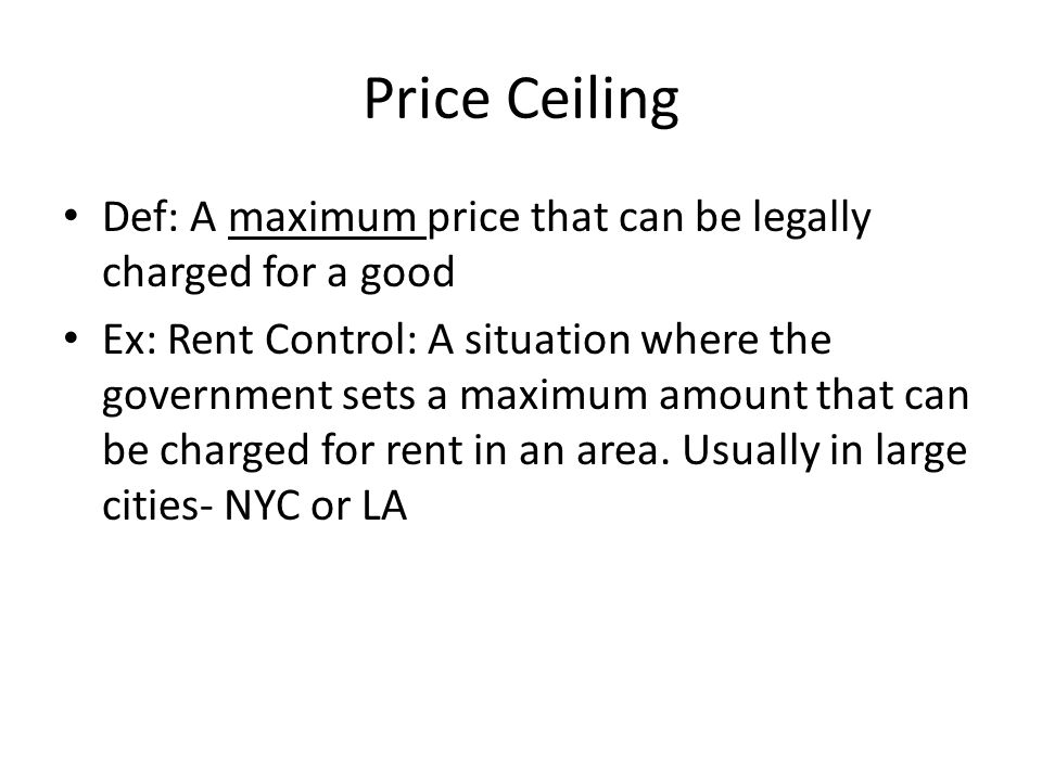 Price Floor Def: A minimum price, set by the government, that must be paid for a good or service.