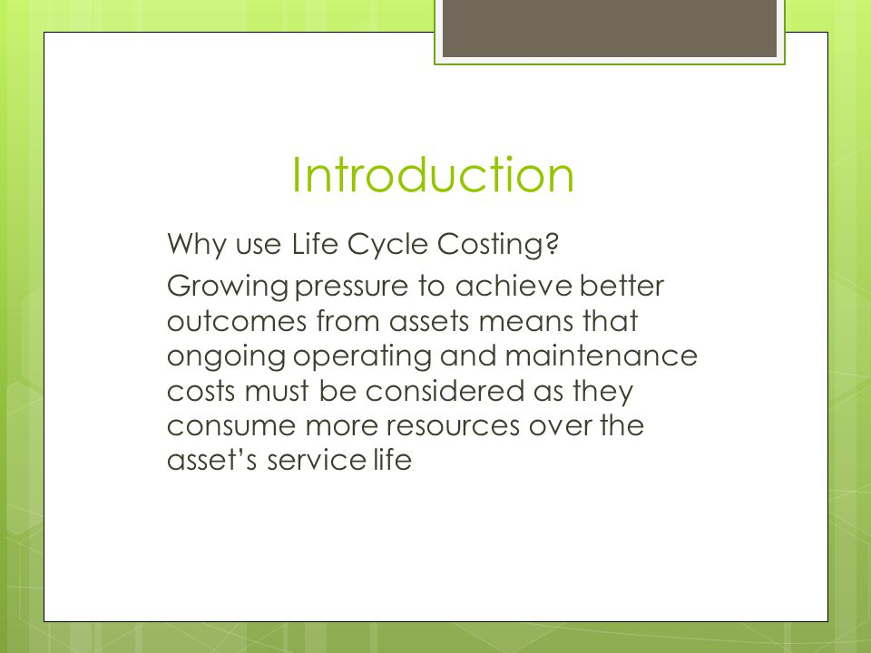 What is life cycle costing.