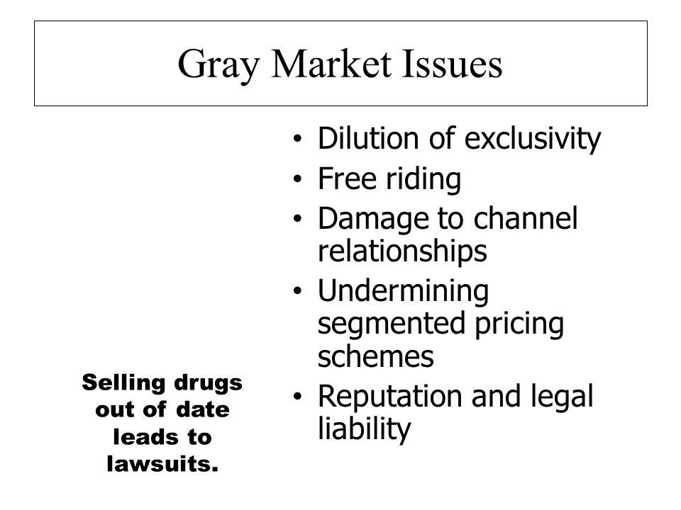 Gray Market Issues Dilution of exclusivity Free riding Damage to channel relationships Undermining segmented pricing schemes Reputation and legal liability Selling drugs out of date leads to lawsuits.