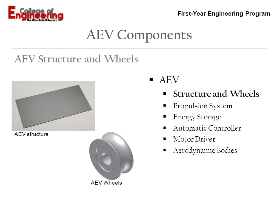 First-Year Engineering Program AEV Components AEV Structure and Wheels AEV Structure and Wheels Propulsion System Energy Storage Automatic Controller