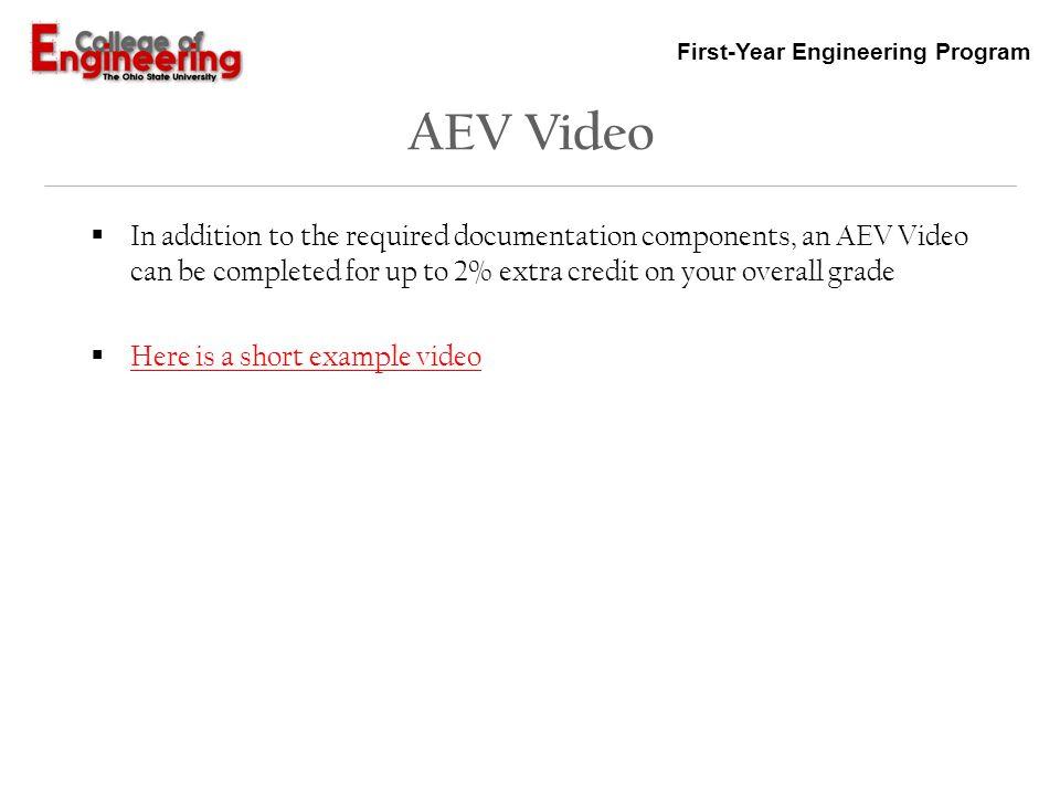 First-Year Engineering Program AEV Design Cycle