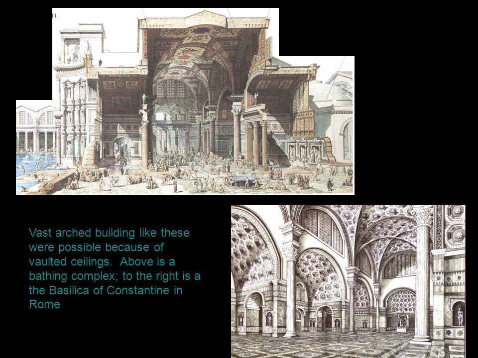 Vast arched building like these were possible because of vaulted ceilings.