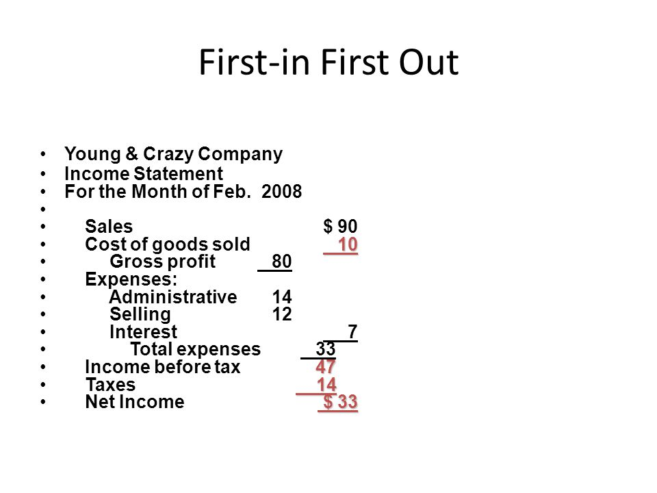 First-in First Out Young & Crazy Company Income Statement For the Month of Feb.