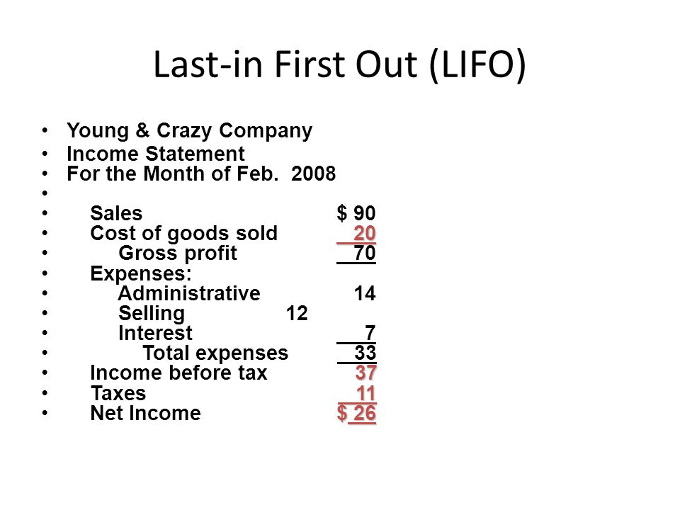 Last-in First Out (LIFO) Young & Crazy Company Income Statement For the Month of Feb.