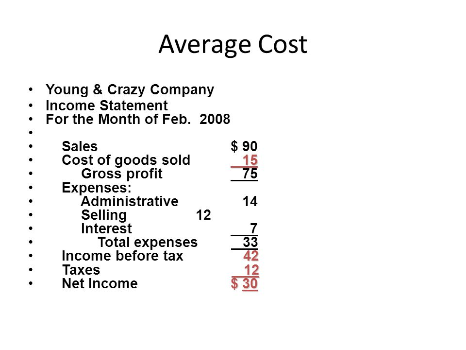 Average Cost Young & Crazy Company Income Statement For the Month of Feb.