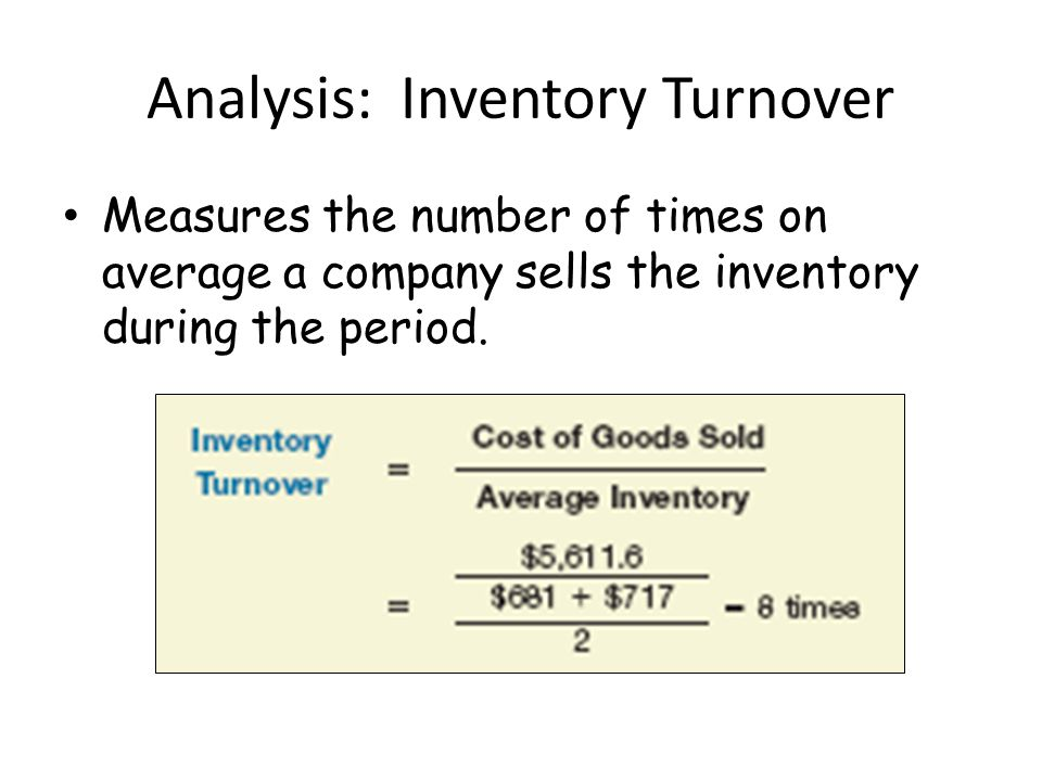 Analysis: Inventory Turnover Measures the number of times on average a company sells the inventory during the period.