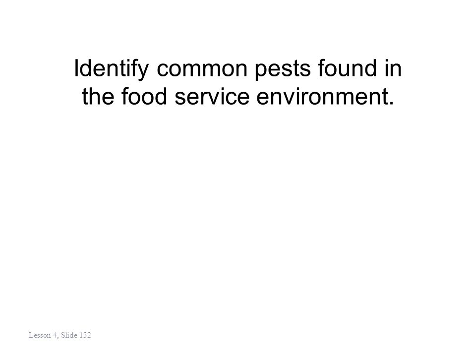 Identify common pests found in the food service environment. Lesson 4, Slide 132