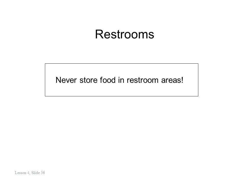 Restrooms Never store food in restroom areas! Lesson 4, Slide 36