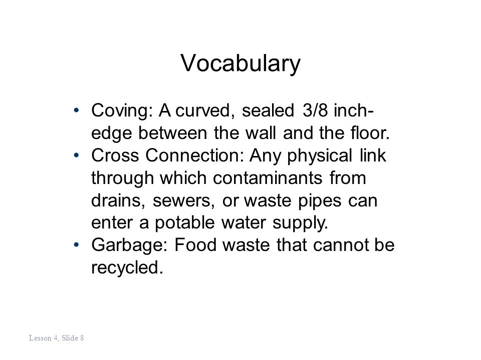 Vocabulary Pest: A troublesome animal or insect that often carries disease or filth into the food service environment.