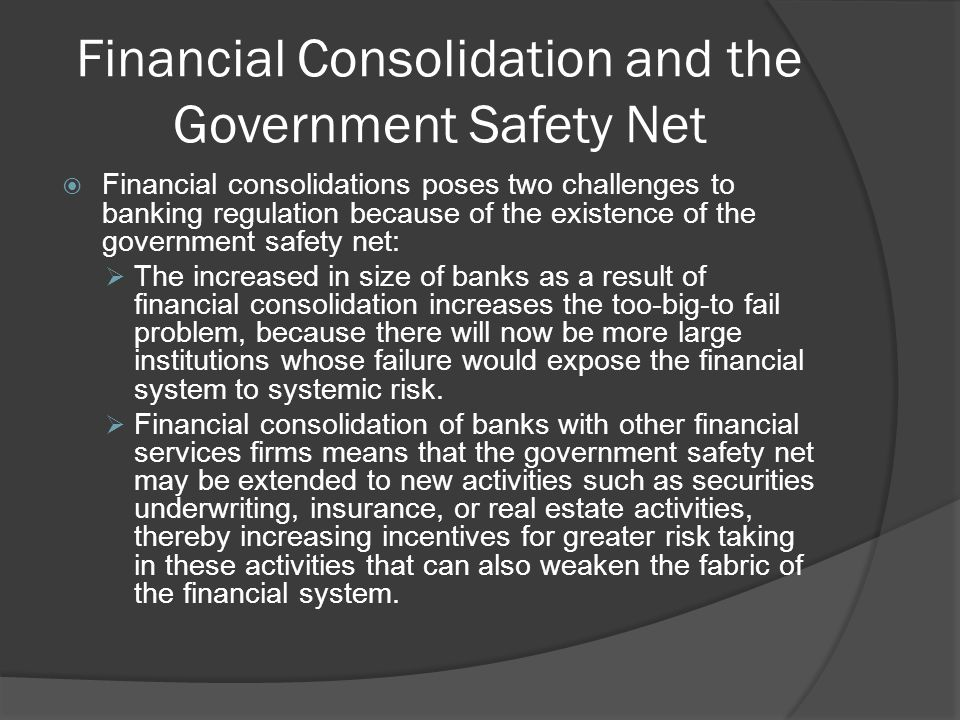Restriction on Asset Holdings and Bank Capital requirements Bank regulations restrict banks from holding risky assets in order to avoid too much risk.