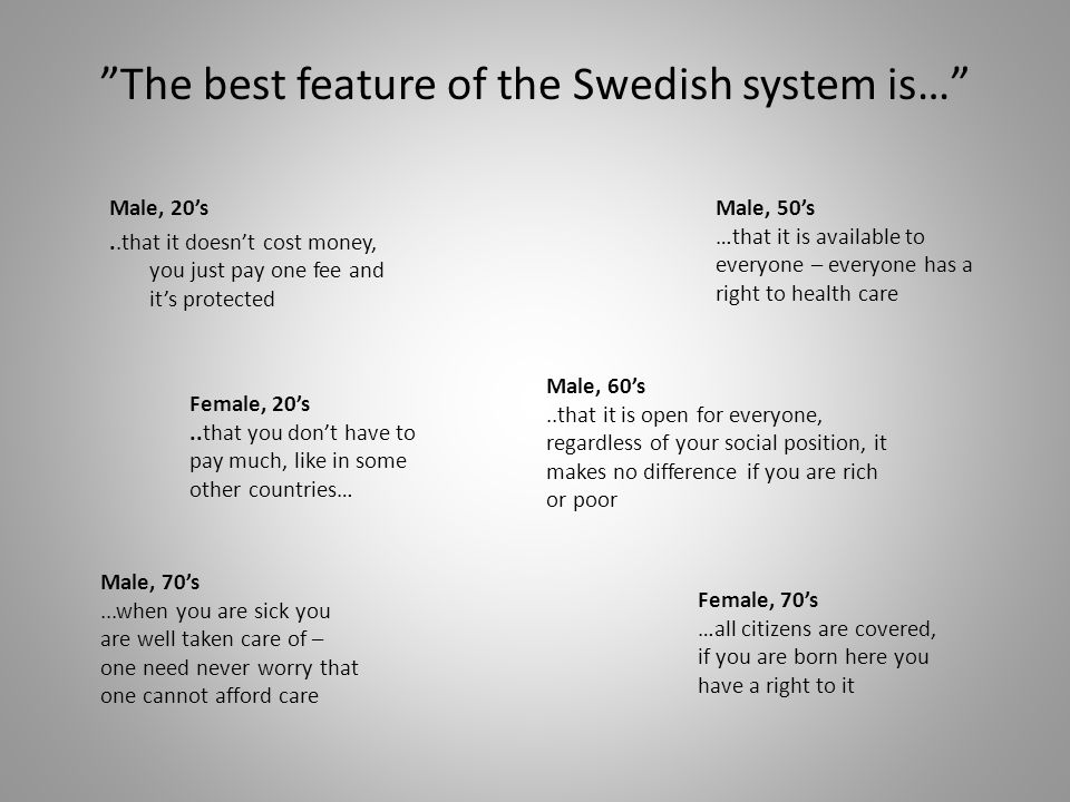 The best feature of the Swedish system is… Male, 20s..that it doesnt cost money, you just pay one fee and its protected Male, 50s …that it is available to everyone – everyone has a right to health care Male, 70s...when you are sick you are well taken care of – one need never worry that one cannot afford care Female, 70s …all citizens are covered, if you are born here you have a right to it Female, 20s..that you dont have to pay much, like in some other countries… Male, 60s..that it is open for everyone, regardless of your social position, it makes no difference if you are rich or poor