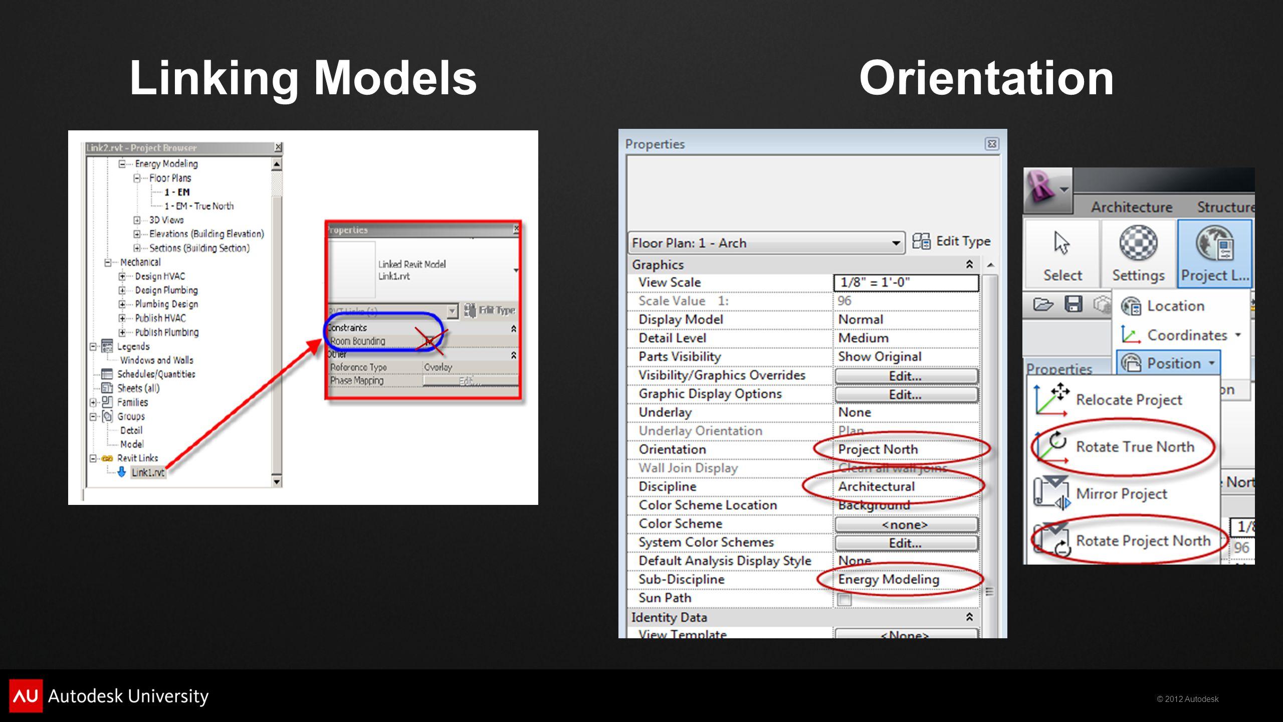 © 2012 Autodesk OrientationLinking Models