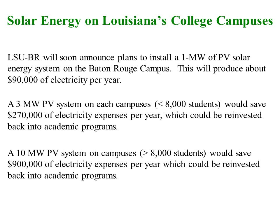 Solar Energy on Louisianas College Campuses LSU-BR will soon announce plans to install a 1-MW of PV solar energy system on the Baton Rouge Campus.