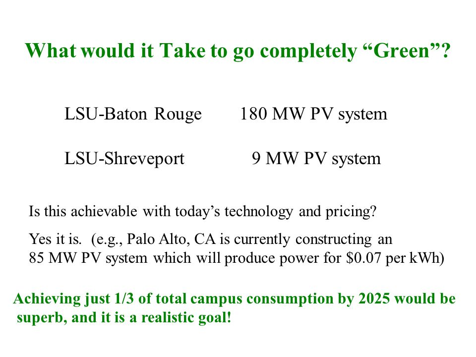 What would it Take to go completely Green.