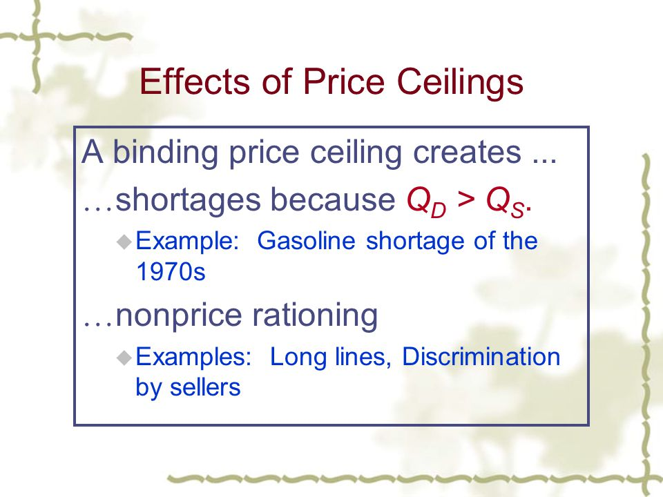 Effects of Price Ceilings A binding price ceiling creates...