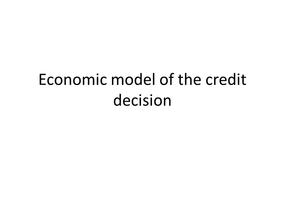 Economic model of the credit decision