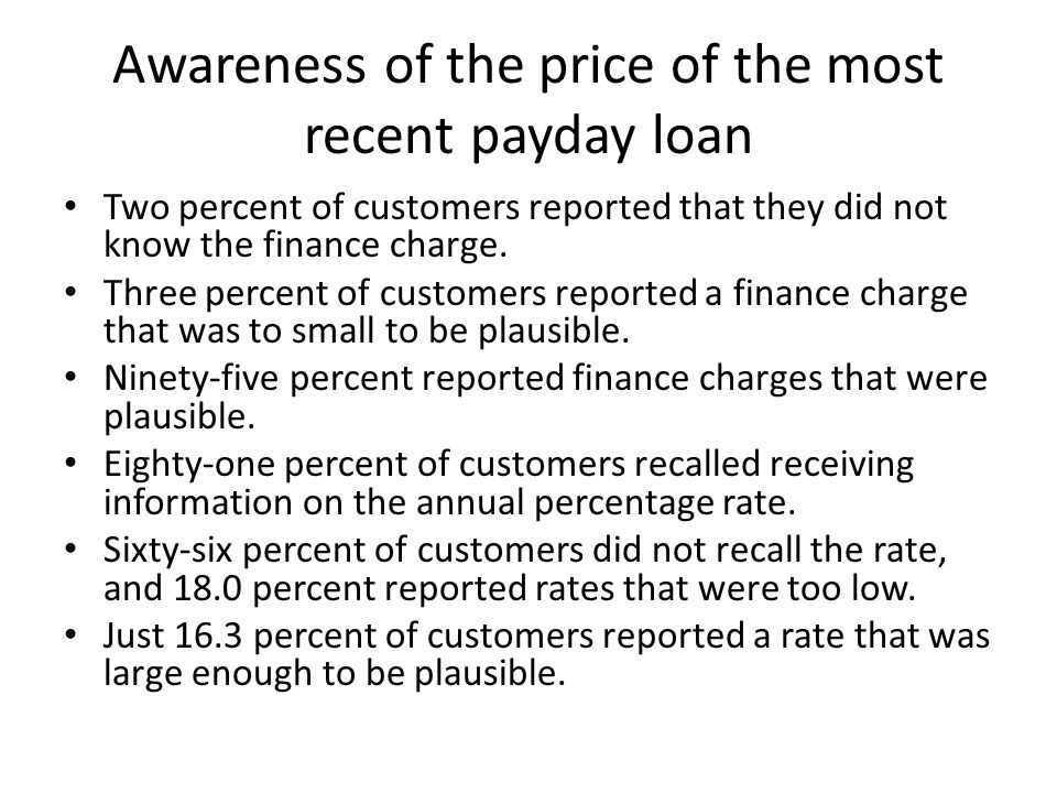 Awareness of the price of the most recent payday loan Two percent of customers reported that they did not know the finance charge.