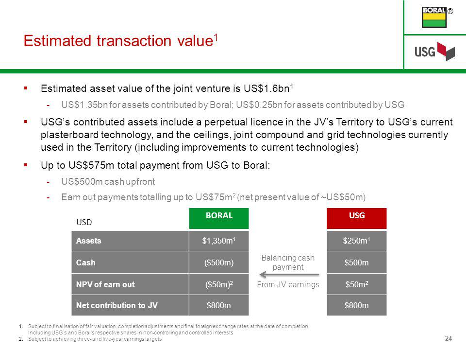 ® 24 1.Subject to finalisation of fair valuation, completion adjustments and final foreign exchange rates at the date of completion Including USGs and Borals respective shares in non-controlling and controlled interests 2.Subject to achieving three- and five-year earnings targets Estimated transaction value 1 Estimated asset value of the joint venture is US$1.6bn 1 -US$1.35bn for assets contributed by Boral; US$0.25bn for assets contributed by USG USGs contributed assets include a perpetual licence in the JVs Territory to USGs current plasterboard technology, and the ceilings, joint compound and grid technologies currently used in the Territory (including improvements to current technologies) Up to US$575m total payment from USG to Boral: -US$500m cash upfront -Earn out payments totalling up to US$75m 2 (net present value of ~US$50m) USD BORALUSG Assets$1,350m 1 $250m 1 Cash($500m) Balancing cash payment $500m NPV of earn out($50m) 2 From JV earnings$50m 2 Net contribution to JV$800m