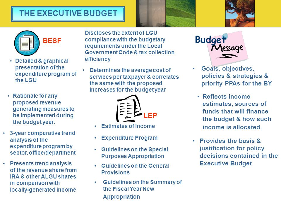 Estimates of Income Expenditure Program Guidelines on the Special Purposes Appropriation Guidelines on the General Provisions Guidelines on the Summary of the Fiscal Year New Appropriation LEP THE EXECUTIVE BUDGET Budget Goals, objectives, policies & strategies & priority PPAs for the BY Reflects income estimates, sources of funds that will finance the budget & how such income is allocated.