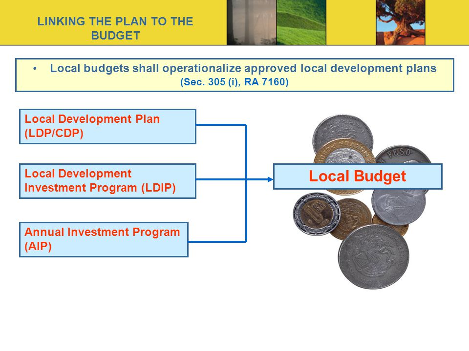 Local budgets shall operationalize approved local development plans (Sec.