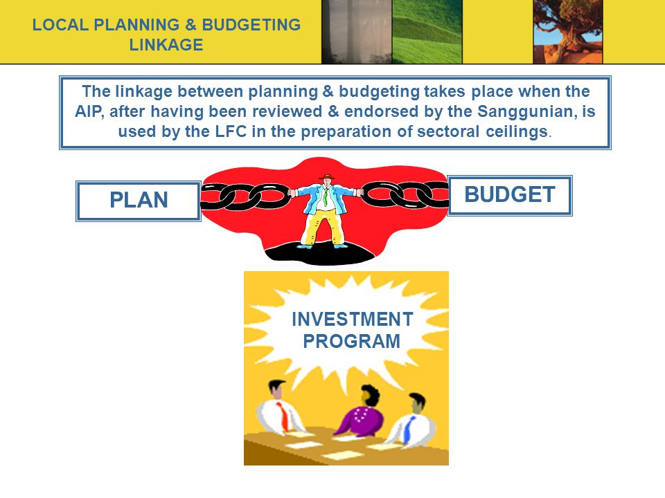 PLAN BUDGET INVESTMENT PROGRAM The linkage between planning & budgeting takes place when the AIP, after having been reviewed & endorsed by the Sanggunian, is used by the LFC in the preparation of sectoral ceilings.
