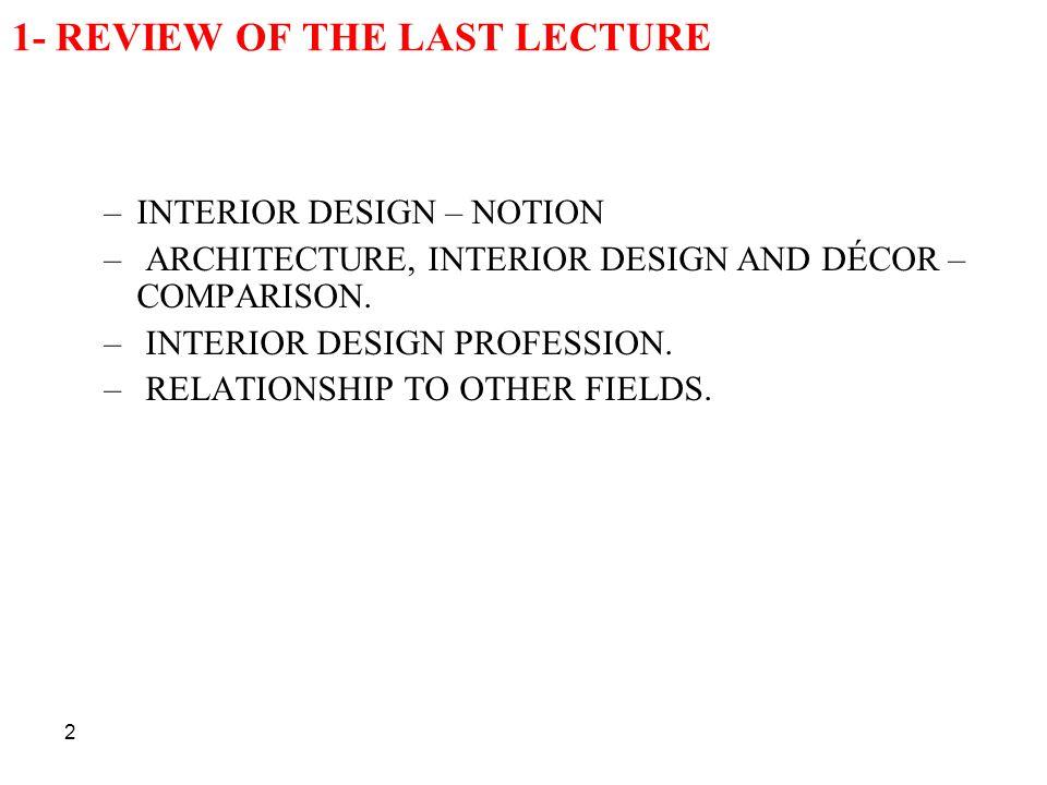 2 1- REVIEW OF THE LAST LECTURE –INTERIOR DESIGN – NOTION – ARCHITECTURE, INTERIOR DESIGN AND DÉCOR – COMPARISON. – INTERIOR DESIGN PROFESSION. – RELA