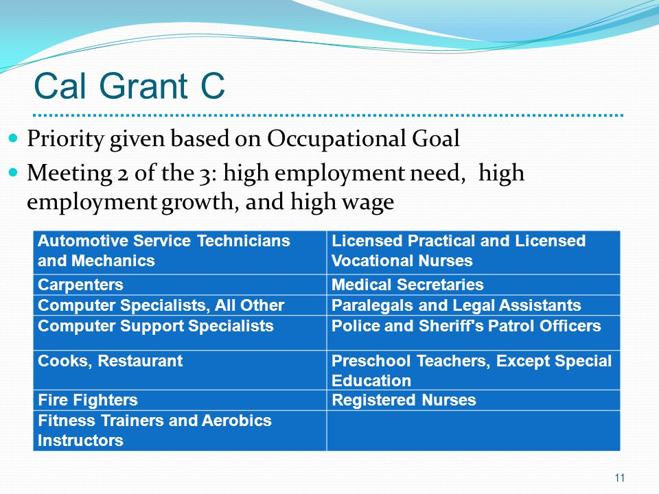 Cal Grant C Priority given based on Occupational Goal Meeting 2 of the 3: high employment need, high employment growth, and high wage 11 Automotive Se