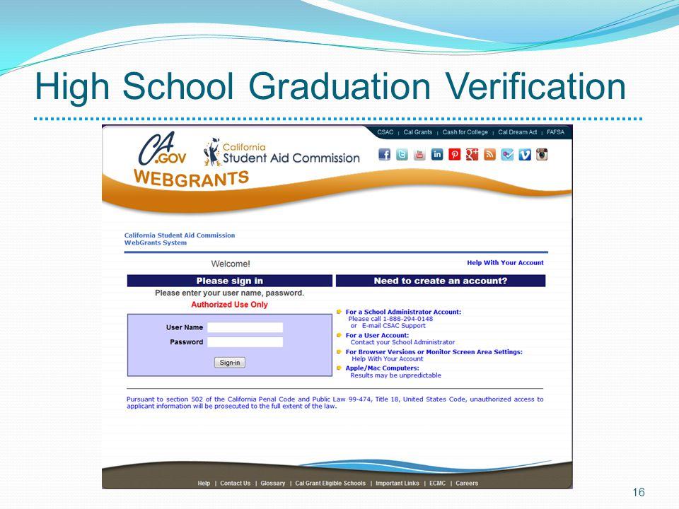High School Graduation Verification 16