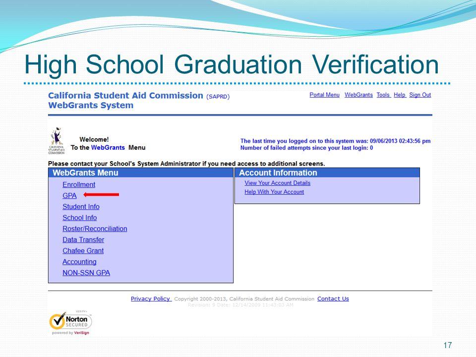 High School Graduation Verification 17