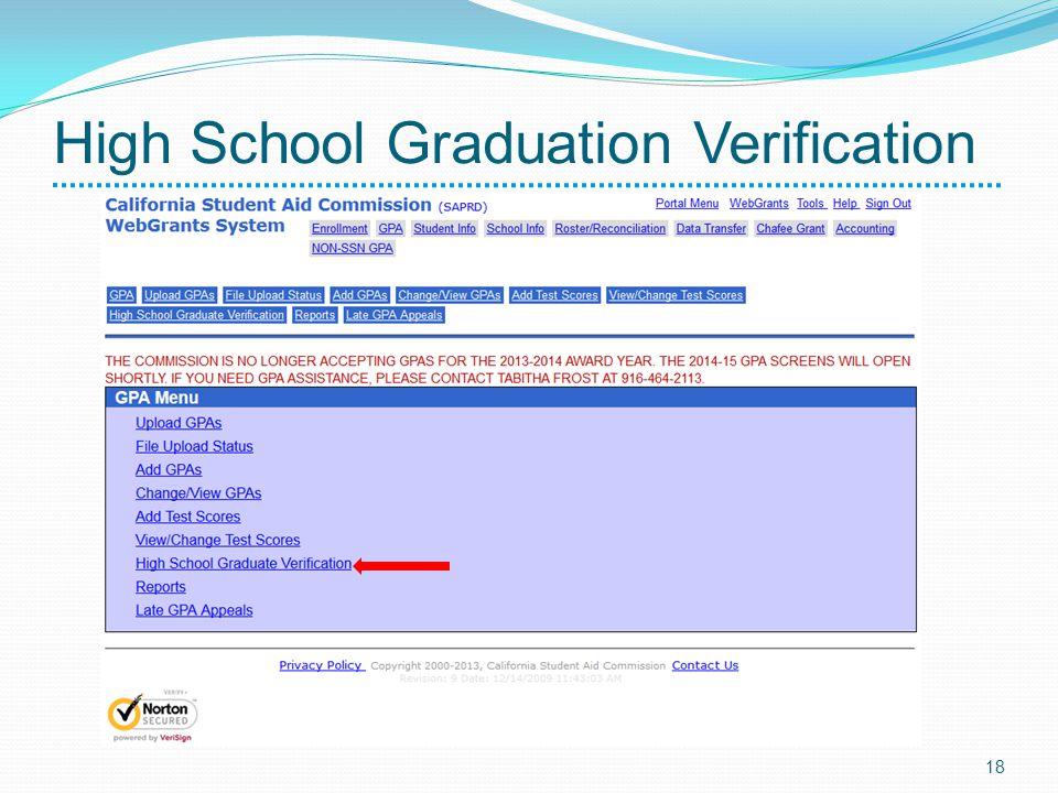 High School Graduation Verification 18