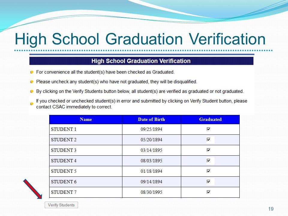 High School Graduation Verification 19