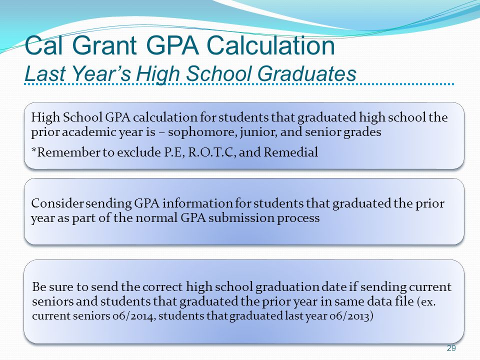 Cal Grant GPA Calculation Last Years High School Graduates High School GPA calculation for students that graduated high school the prior academic year