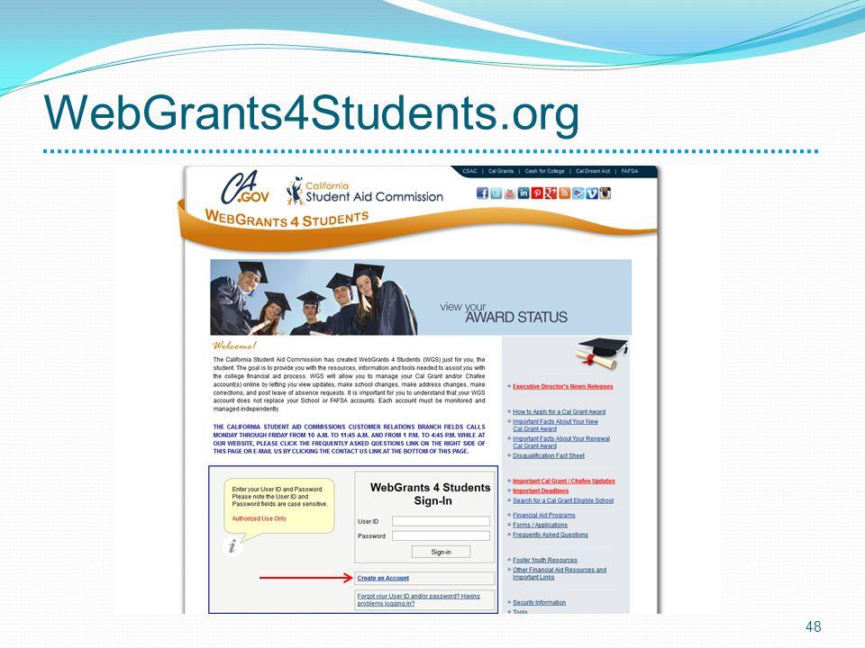 WebGrants4Students.org 48