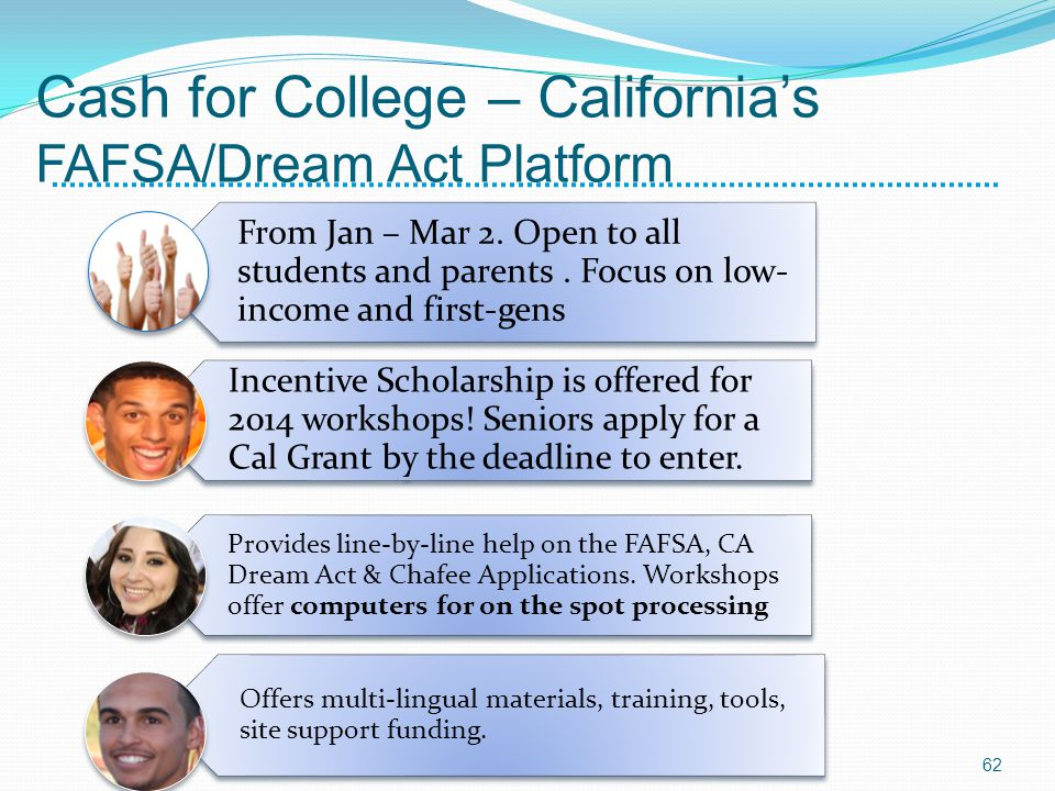 Cash for College – Californias FAFSA/Dream Act Platform From Jan – Mar 2. Open to all students and parents. Focus on low- income and first-gens Incent
