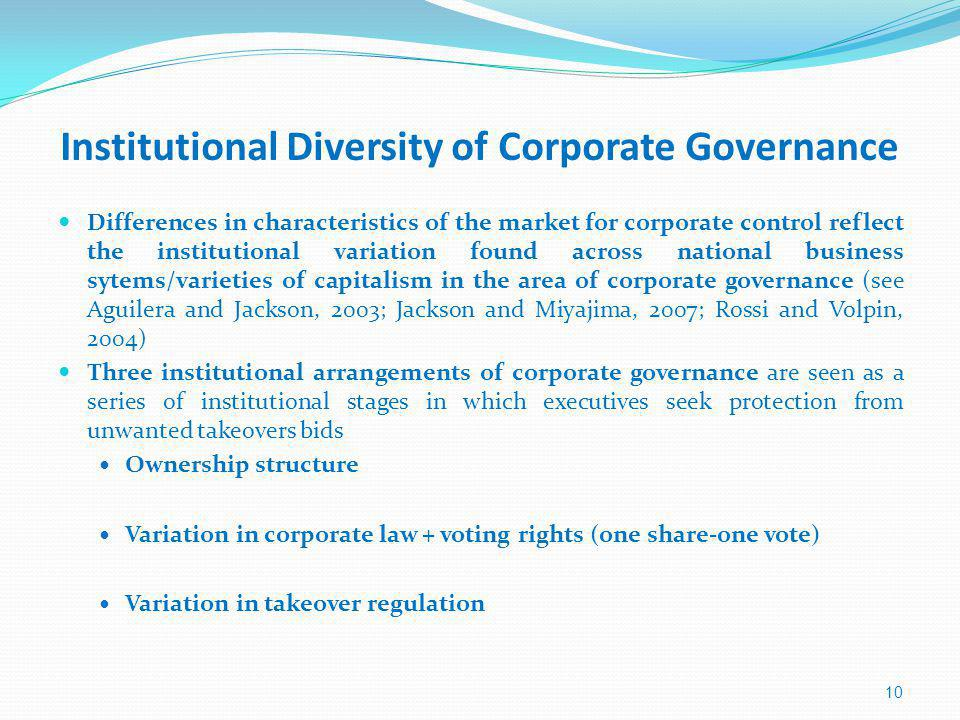 Institutional Diversity of Corporate Governance Differences in characteristics of the market for corporate control reflect the institutional variation found across national business sytems/varieties of capitalism in the area of corporate governance (see Aguilera and Jackson, 2003; Jackson and Miyajima, 2007; Rossi and Volpin, 2004) Three institutional arrangements of corporate governance are seen as a series of institutional stages in which executives seek protection from unwanted takeovers bids Ownership structure Variation in corporate law + voting rights (one share-one vote) Variation in takeover regulation 10