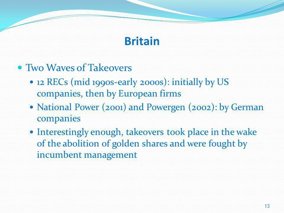 Britain Two Waves of Takeovers 12 RECs (mid 1990s-early 2000s): initially by US companies, then by European firms National Power (2001) and Powergen (2002): by German companies Interestingly enough, takeovers took place in the wake of the abolition of golden shares and were fought by incumbent management 13