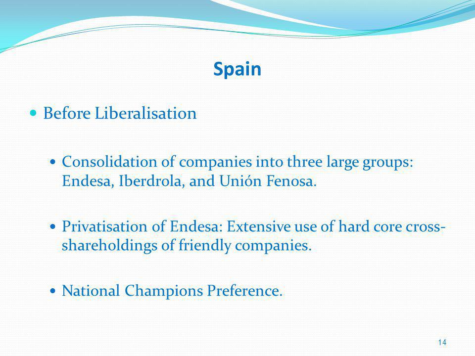 Spain Before Liberalisation Consolidation of companies into three large groups: Endesa, Iberdrola, and Unión Fenosa.
