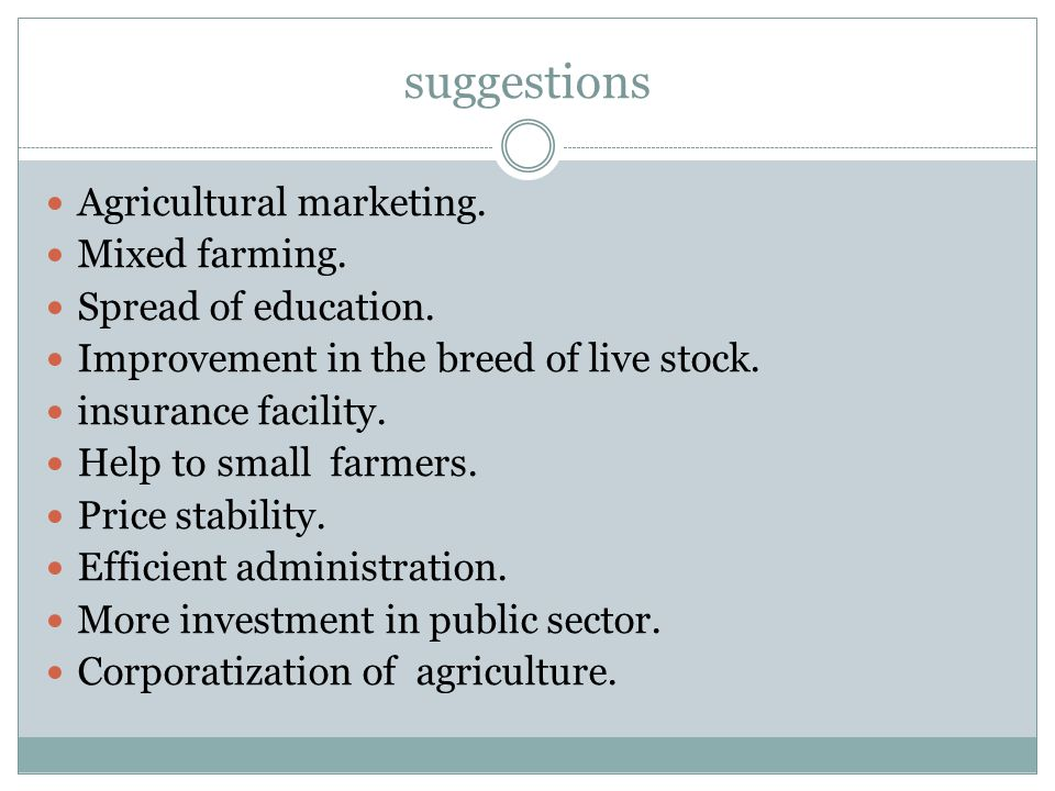 suggestions Agricultural marketing. Mixed farming.