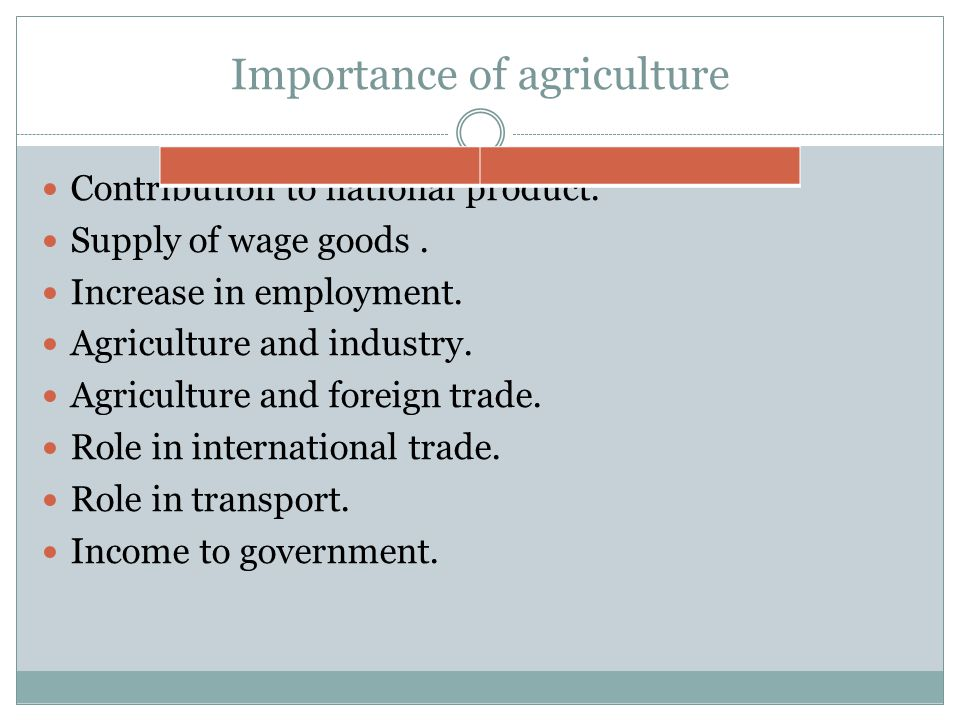 Importance of agriculture Contribution to national product.