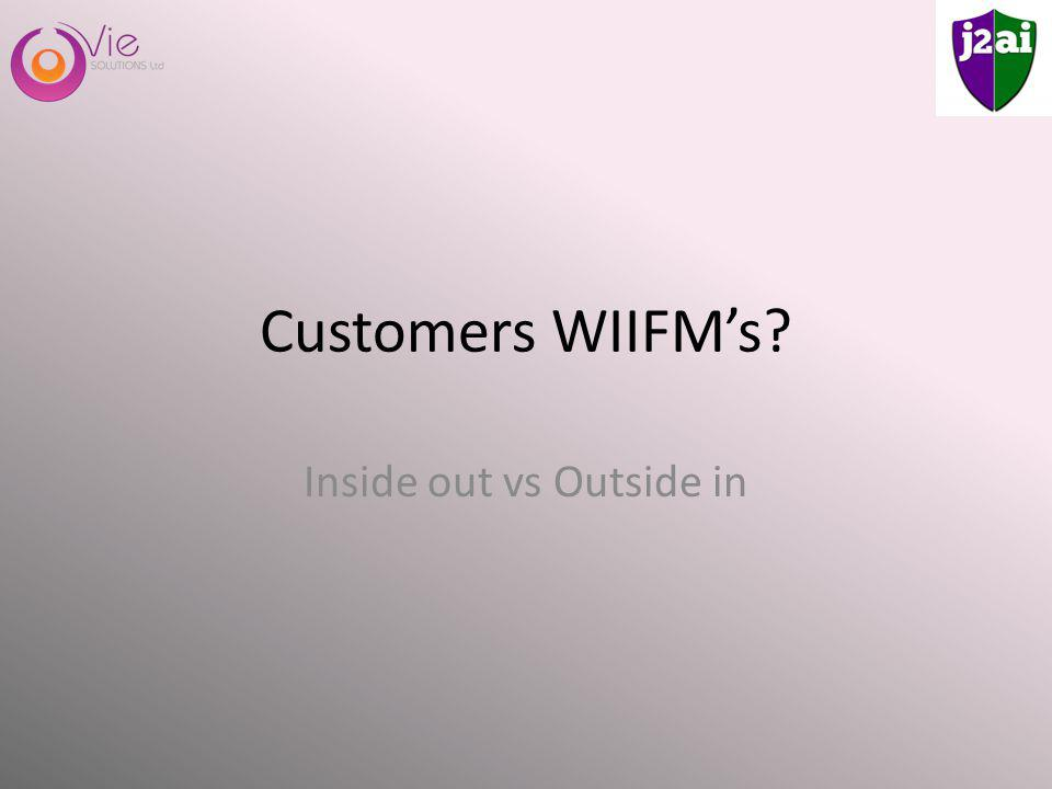Customers WIIFMs Inside out vs Outside in