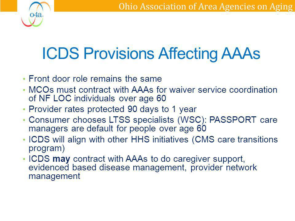 Ohio Association of Area Agencies on Aging ICDS Provisions Affecting AAAs Front door role remains the same MCOs must contract with AAAs for waiver ser