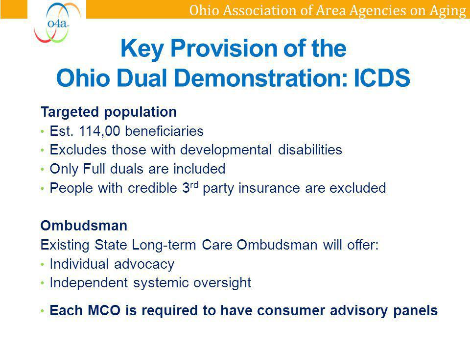 Ohio Association of Area Agencies on Aging Targeted population Est. 114,00 beneficiaries Excludes those with developmental disabilities Only Full dual