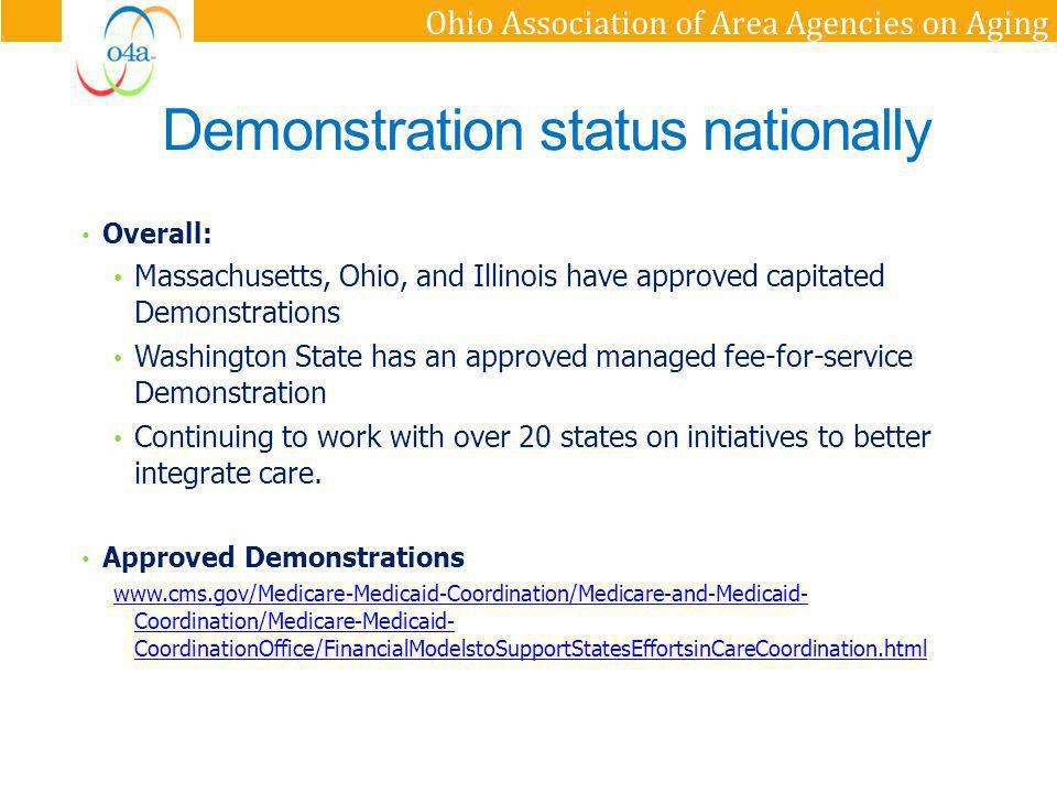 Ohio Association of Area Agencies on Aging Considerations Implementation and Monitoring: Ongoing milestones that allow CMS and States to monitor demonstration plan as enrollments begin.