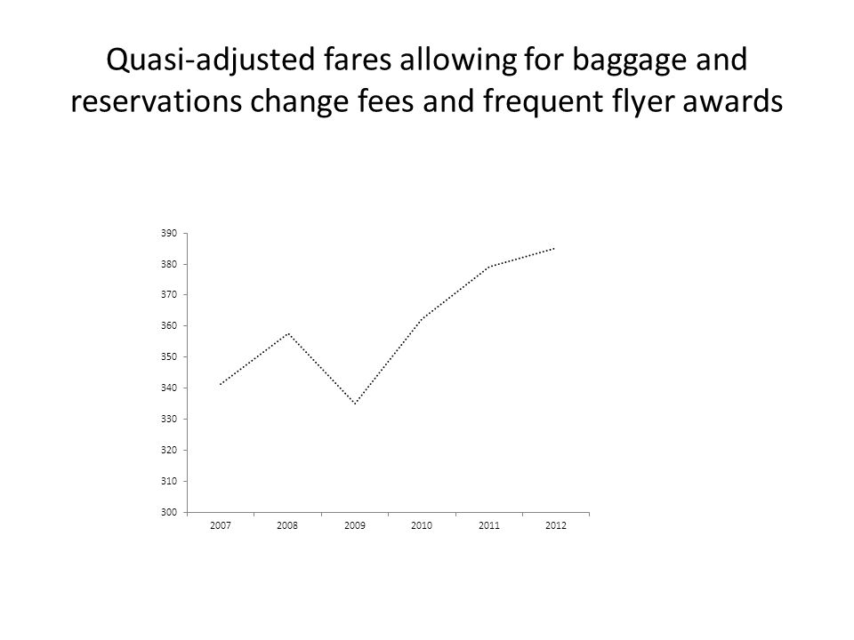 Quasi-adjusted fares allowing for baggage and reservations change fees and frequent flyer awards