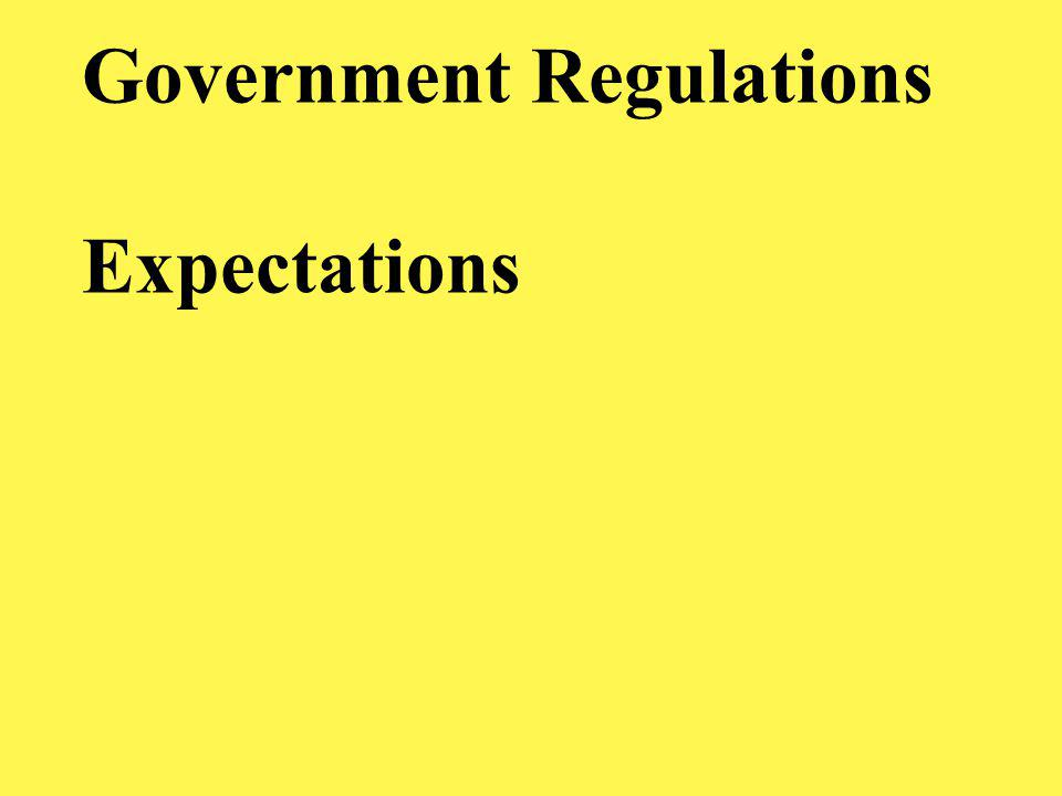 Government Regulations Expectations